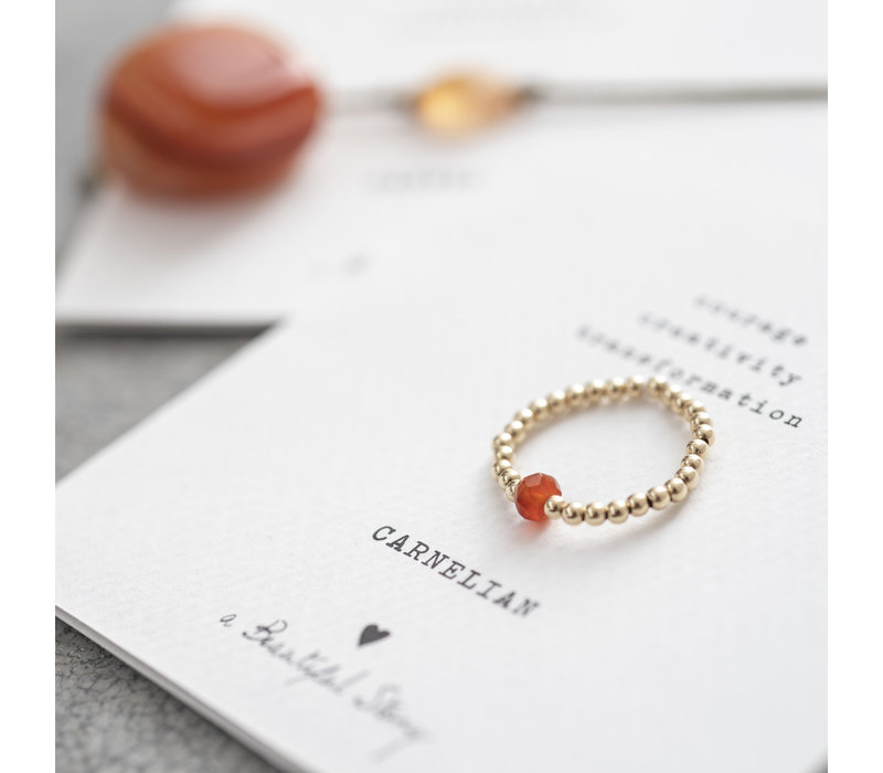 A Beautiful Story Sparkle Goldener Ring - Karneol