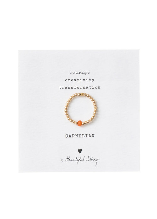 A Beautiful Story A Beautiful Story Sparkle Gouden Ring - Carneool