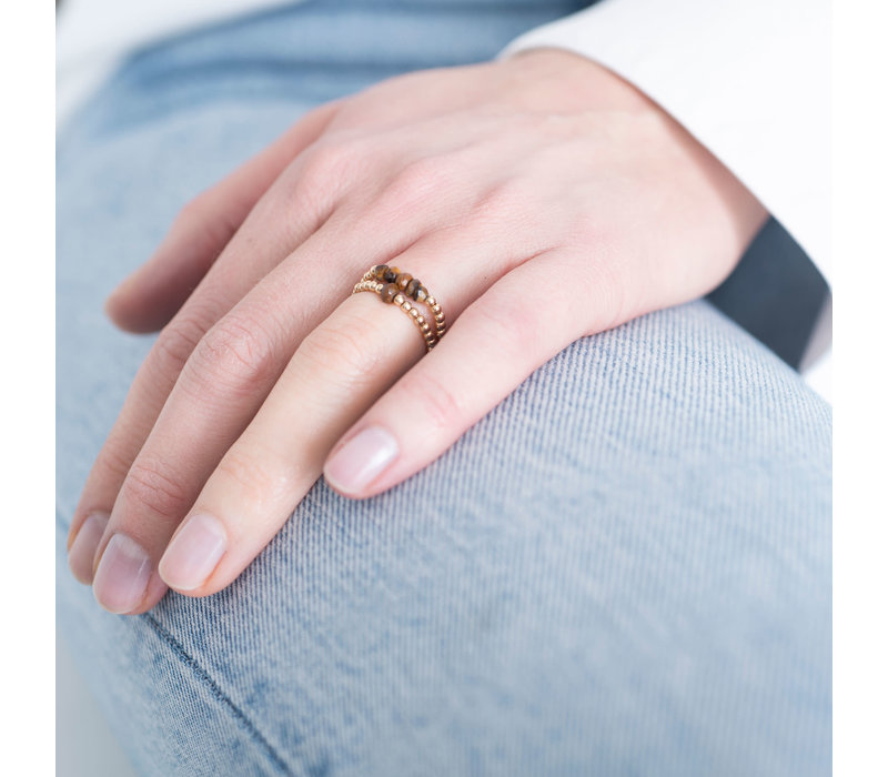 A Beautiful Story Sparkle Gold Ring - Tiger Eye