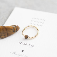 A Beautiful Story Sparkle Gouden Ring - Tijgeroog