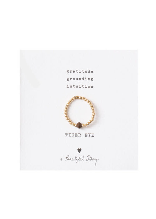 A Beautiful Story A Beautiful Story Sparkle Gold Ring - Tiger Eye
