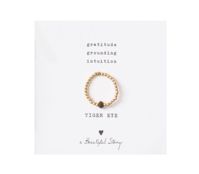 A Beautiful Story Sparkle Goldener Ring - Tigerauge