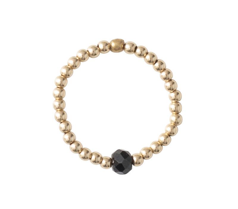 A Beautiful Story Sparkle Gouden Ring - Zwarte Onyx