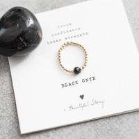 A Beautiful Story Sparkle Goldener Ring - Schwarzer Onyx