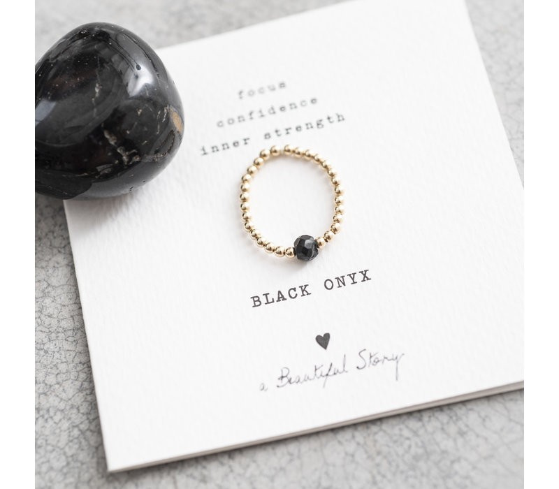 A Beautiful Story Sparkle Gold Ring - Black Onyx