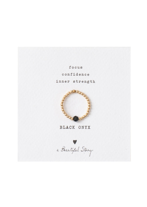 A Beautiful Story A Beautiful Story Sparkle Gold Ring - Black Onyx