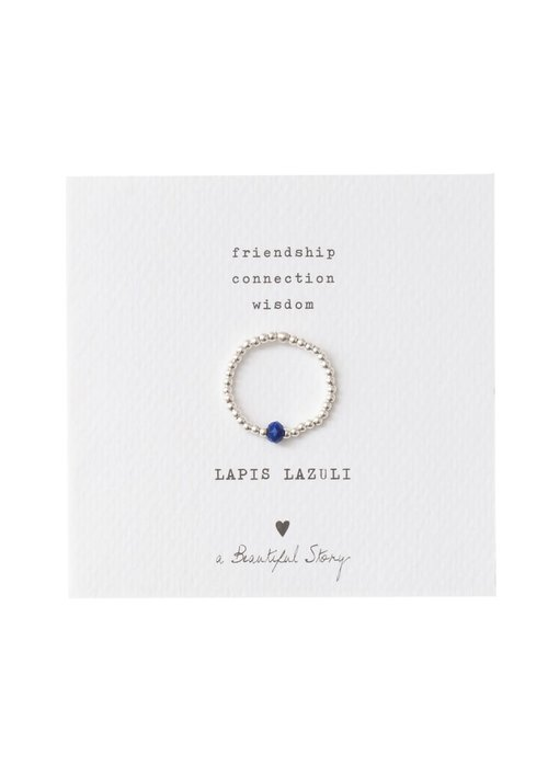 A Beautiful Story A Beautiful Story Sparkle Silber Ring - Lapis Lazuli