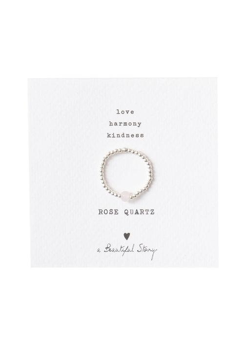 A Beautiful Story A Beautiful Story Sparkle Zilveren Ring - Rozenkwarts