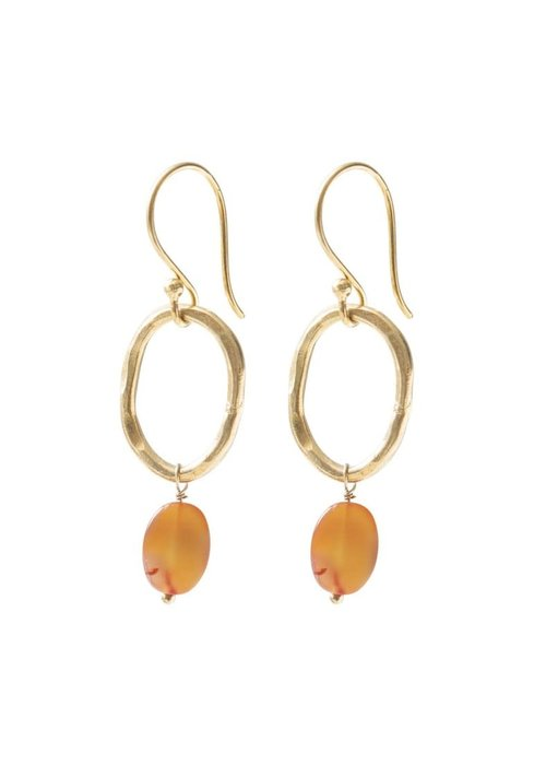 A Beautiful Story A Beautiful Story Graceful Gold Earrings - Carnelian