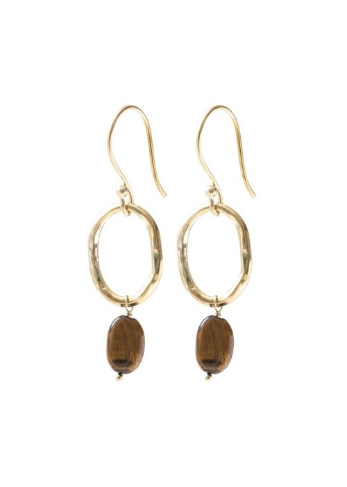 A Beautiful Story A Beautiful Story Graceful Gold Earrings - Tiger Eye