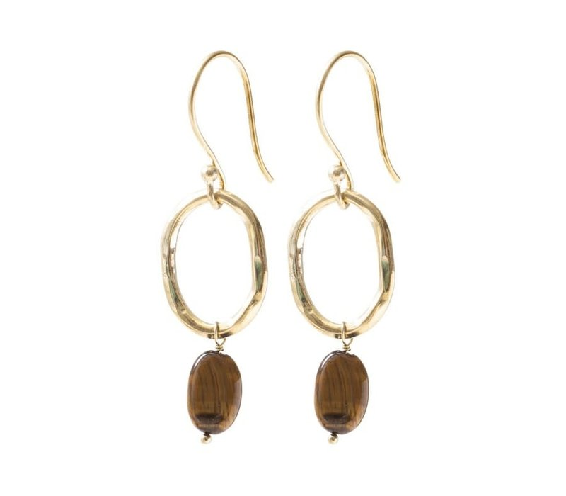 A Beautiful Story Graceful Gold Earrings - Tiger Eye