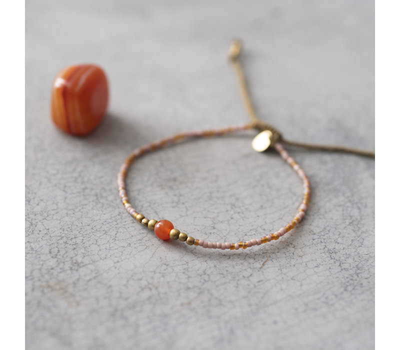 A Beautiful Story Iris Gouden Armband - Carneool