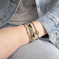 A Beautiful Story Iris Goldenes Armband - Aventurin