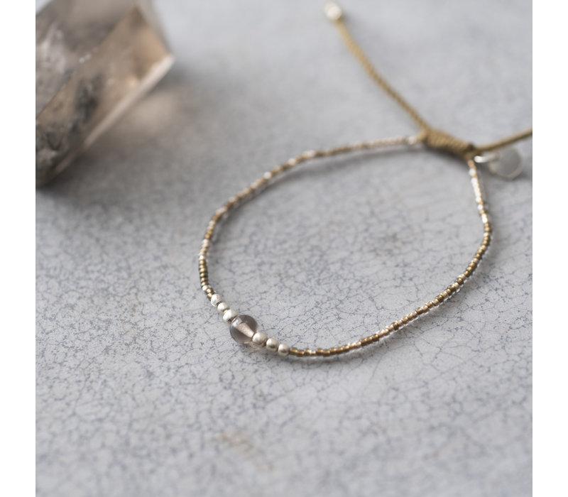 A Beautiful Story Iris Silber Armband - Rauchquarz