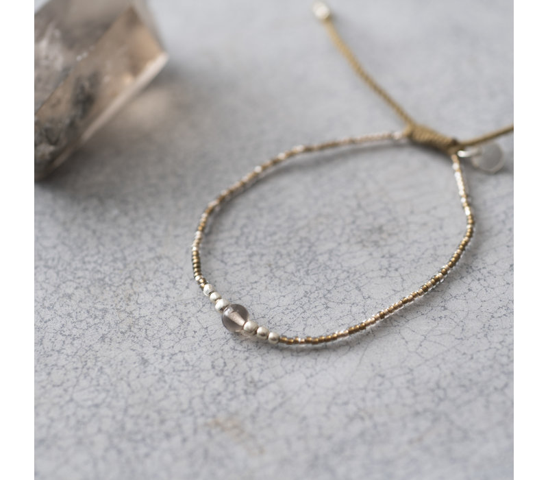 A Beautiful Story Iris Silver Bracelet - Smokey Quartz