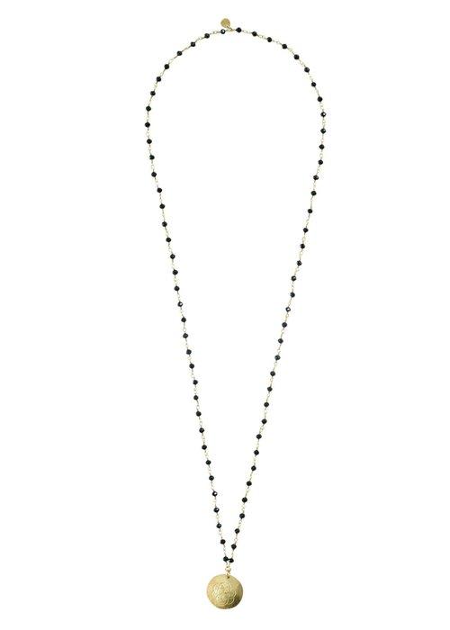 A Beautiful Story A Beautiful Story Rosary Gouden Ketting Bloem - Zwarte Onyx