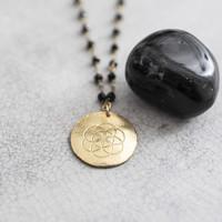 A Beautiful Story Rosary Gouden Ketting Bloem - Zwarte Onyx