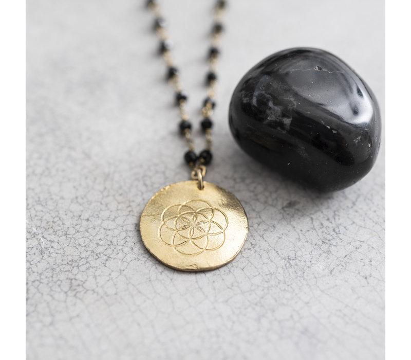 A Beautiful Story Rosary Goldene Halskette Buddha - Schwarzer Onyx
