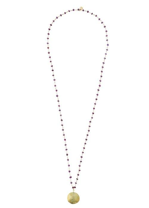 A Beautiful Story A Beautiful Story Rosary Gold Necklace Buddha - Garnet
