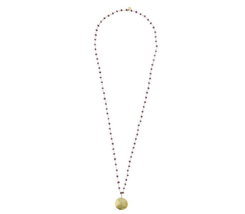 A Beautiful Story Rosary Gouden Ketting Buddha - Granaat
