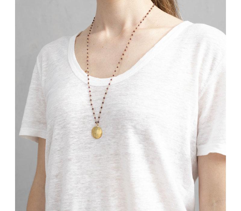 A Beautiful Story Rosary Gold Necklace Buddha - Garnet