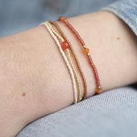 A Beautiful Story Bloom Gold Bracelet - Carnelian