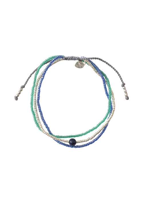 A Beautiful Story A Beautiful Story Bloom Zilveren Armband - Lapis Lazuli