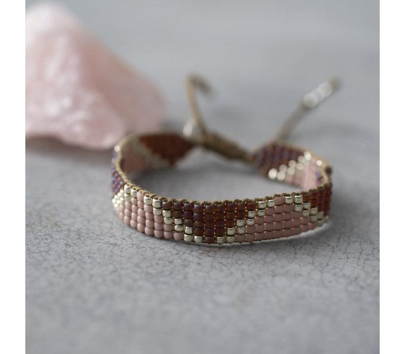 A Beautiful Story Flare Silver Bracelet - Rose Quartz