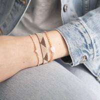 A Beautiful Story Flare Silber Armband - Rosenquarz