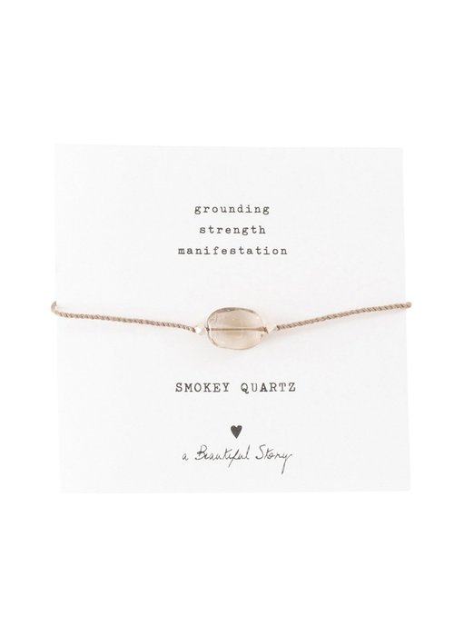 A Beautiful Story A Beautiful Story Edelstein Karte - Rauchquarz Goldenes Armband