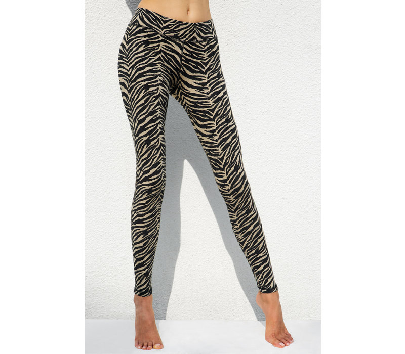 Funky Simplicity High Waist Legging - Cream Black Zebra