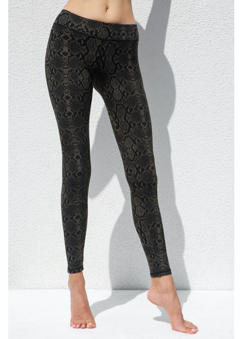 Funky Simplicity Funky Simplicity High Waist Legging - Olive Snake