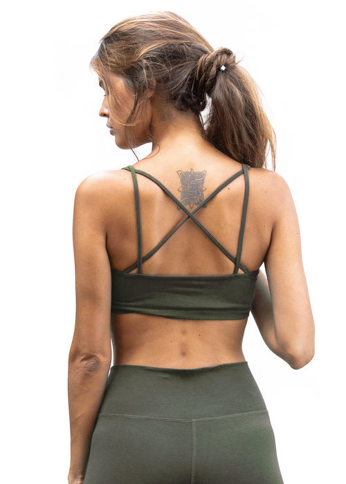 Funky Simplicity Funky Simplicity Cross Back Bra - Olive Green