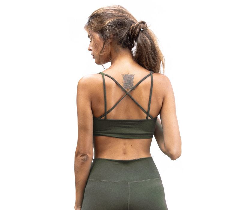 Funky Simplicity Cross Back Bra - Olive Green