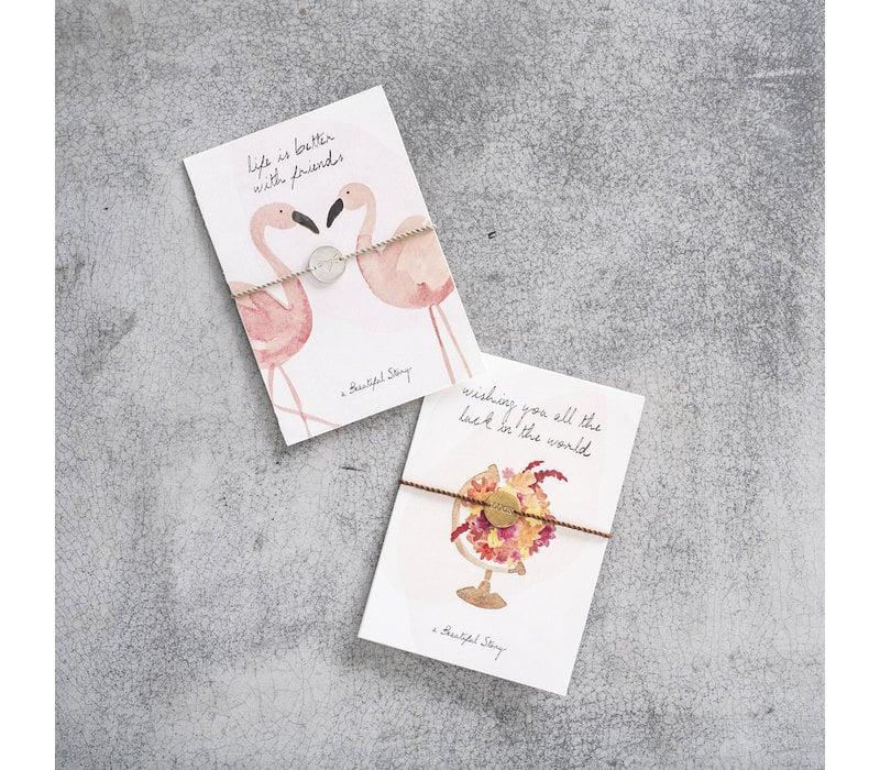 A Beautiful Story Schmuck Karte - Flamingos