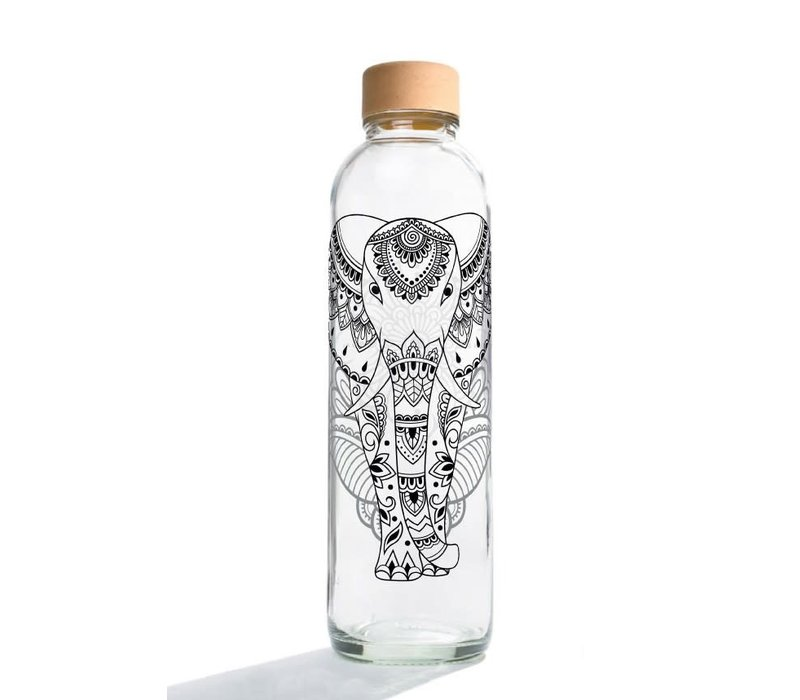 Carry Glass Drinking Bottle 700ml - Elephant