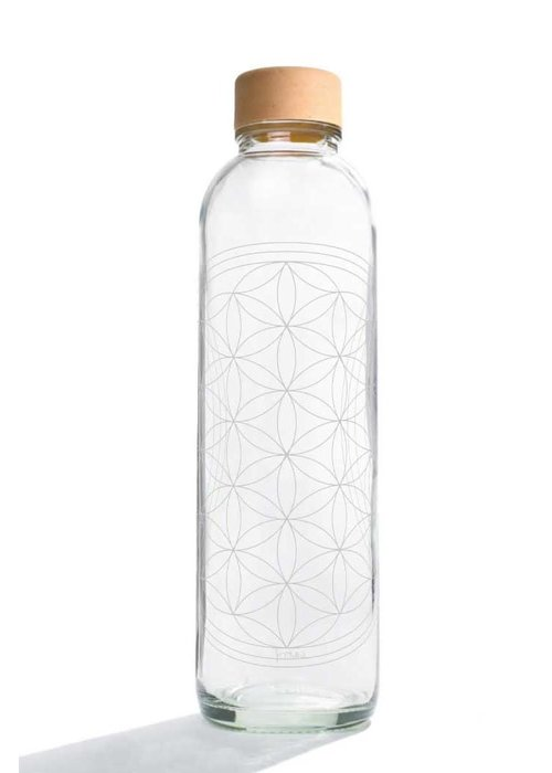 Carry Carry Glass Drinking Bottle 700ml - Flower Of Life