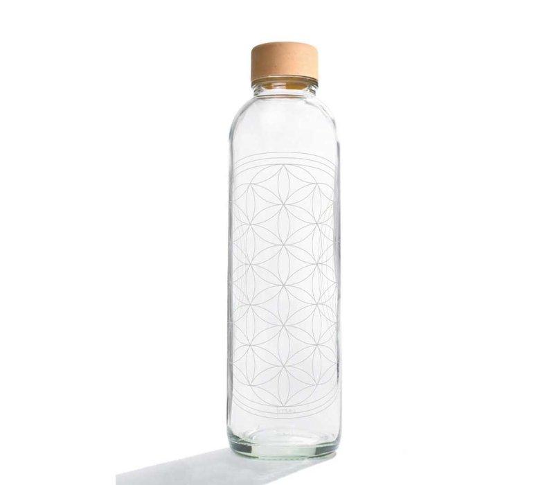 Carry Glass Drinking Bottle 700ml - Flower Of Life