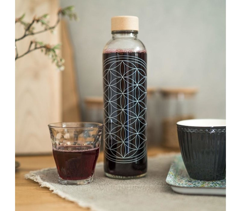 Carry Glastrinkflasche 700ml - Flower of Life
