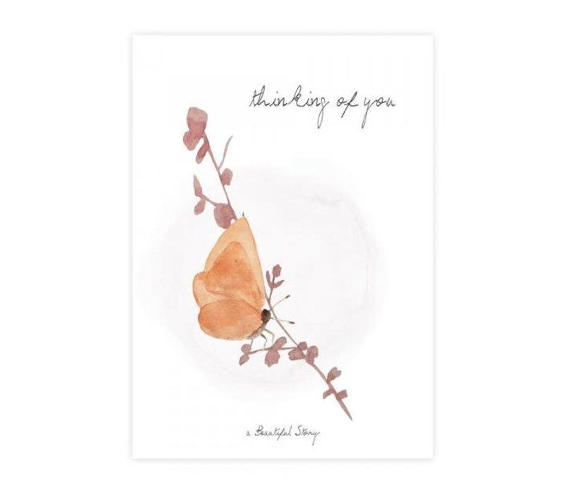 A Beautiful Story Ansichtkaart - Butterfly Watercolour