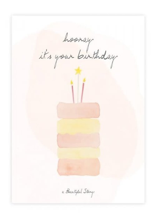 A Beautiful Story A Beautiful Story Ansichtkaart - Cake Watercolour