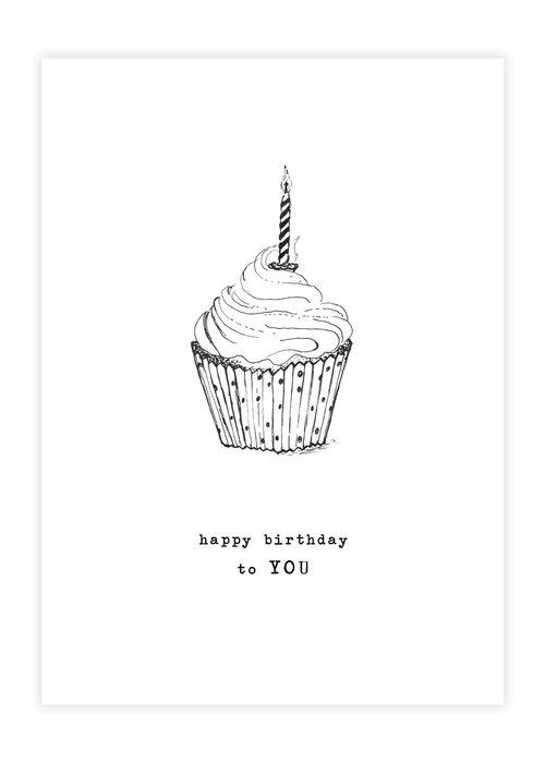 A Beautiful Story A Beautiful Story Greeting Card - Cupcake black/white