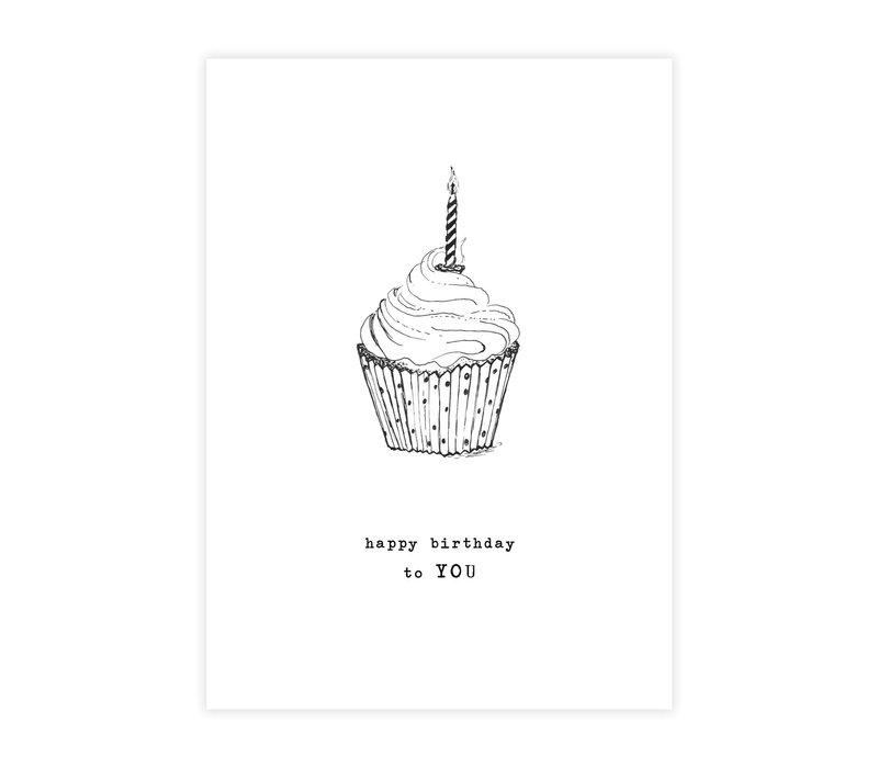 A Beautiful Story Greeting Card - Cupcake black/white