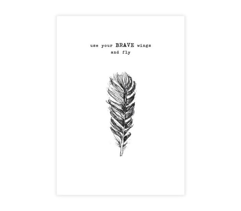 A Beautiful Story Greeting Card - Feather black/white