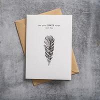 A Beautiful Story Karte - Feather black/white