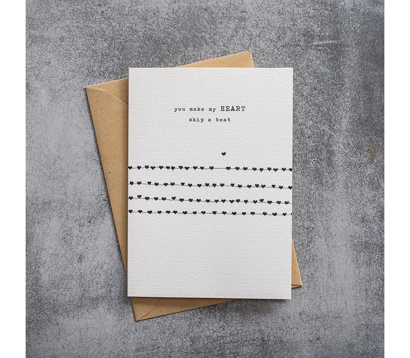 A Beautiful Story Karte - Heartbeats black/white