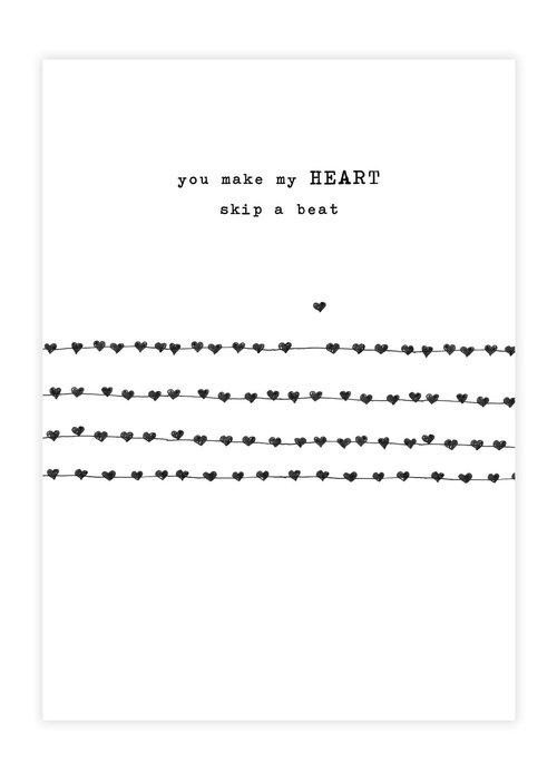 A Beautiful Story A Beautiful Story Ansichtkaart - Heartbeats black/white