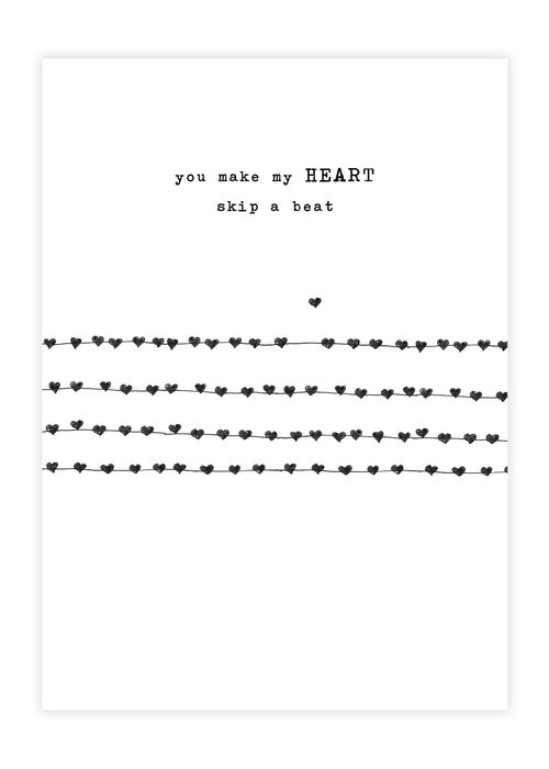 A Beautiful Story A Beautiful Story Greeting Card - Heartbeats black/white
