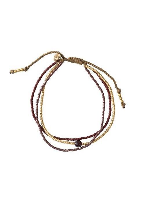 A Beautiful Story A Beautiful Story Bloom Gold Bracelet - Garnet