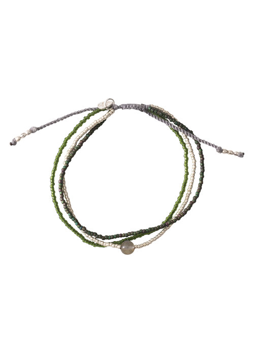 A Beautiful Story A Beautiful Story Bloom Silber Armband - Labradorit